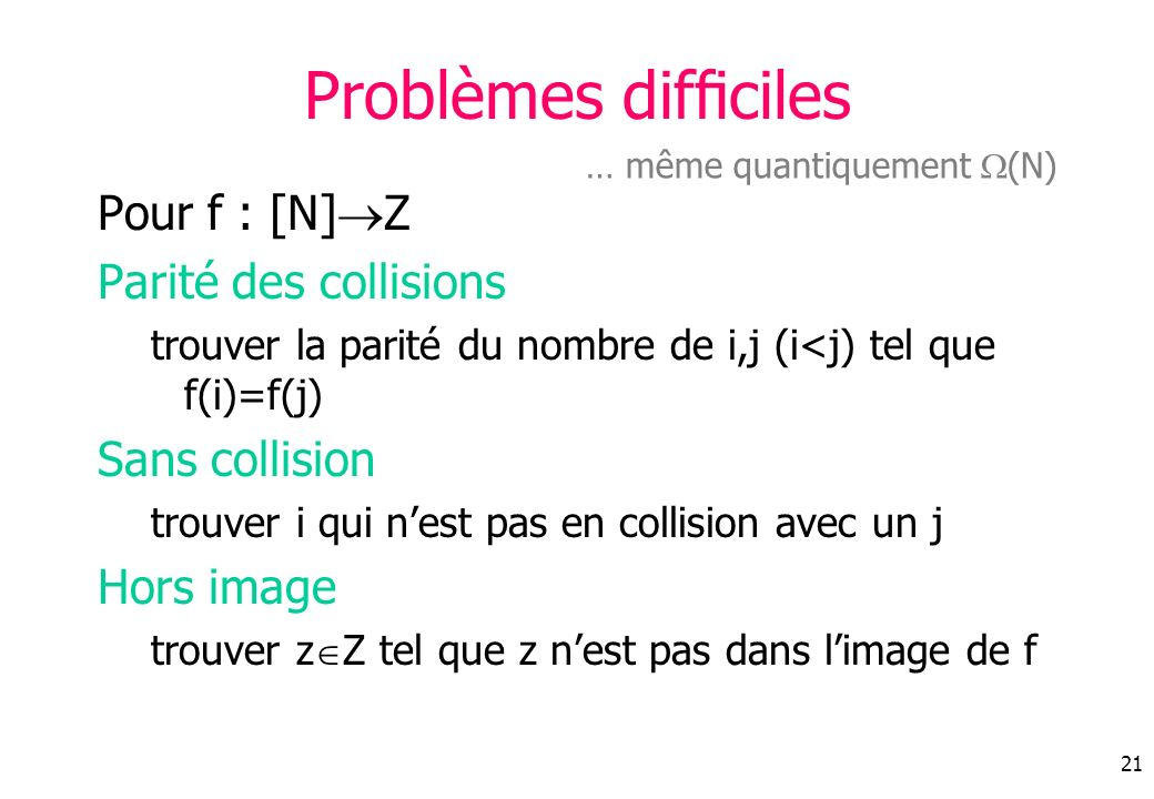 Problèmes difficiles Pour f : [N]Z Parité des collisions